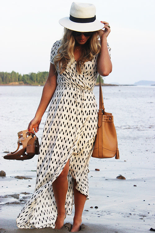 Tie-waist Geometric Print Maxi Dress