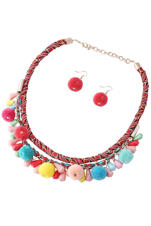 Ethnic Necklace & Fluffy Earring