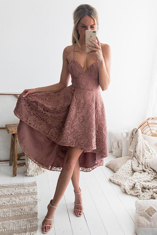 Lace Spaghetti High&Low Dress -3 Colors