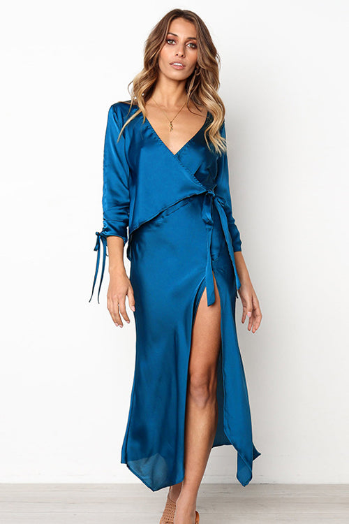 Caught You Staring Diamond Blue Maxi Dress