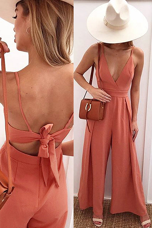 Bowknot-back Wide-leg V-neck Jumpsuit - 3 Colors