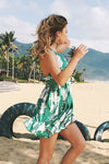 Green Print Beach Dress