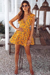Bright Yellow V-neck Print Dress