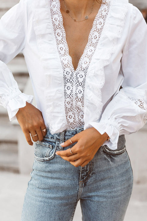 I'm Your Girl V-neck Lace Shirt - 3 Colors