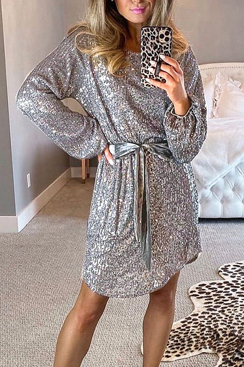 Glamorous Sequin Tie-Waist Mini Dress - 2 Colors