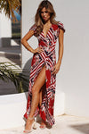 Geometric Print V-neck Maxi Dress