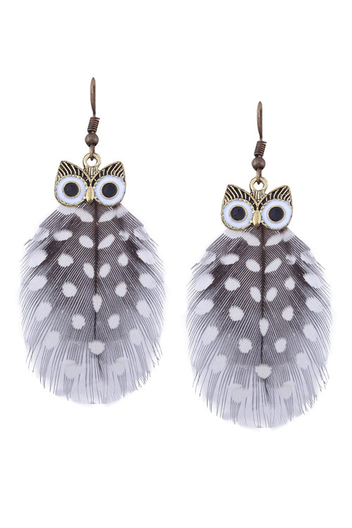 Owl Feather Cute Earrings