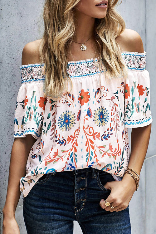 Only For You Boho Print Off Shoulder Top - 2 Colors