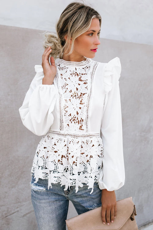 Let It Be Me Lace Hollow-Out Long Sleeve Top