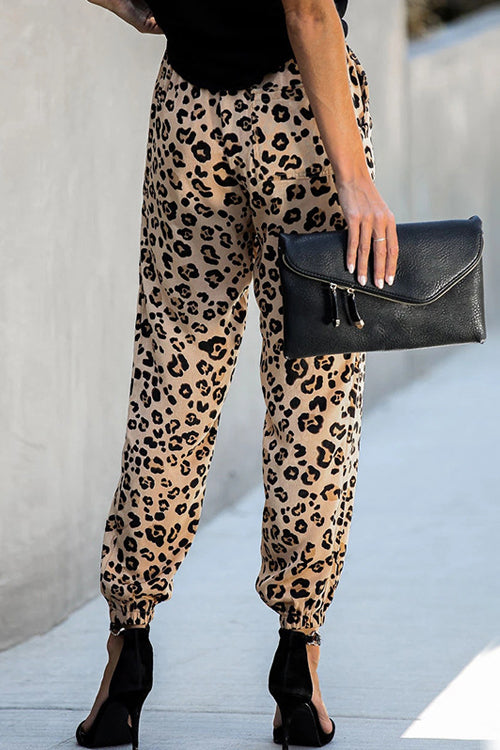 Take My Time Leopard Print Waisted Pants