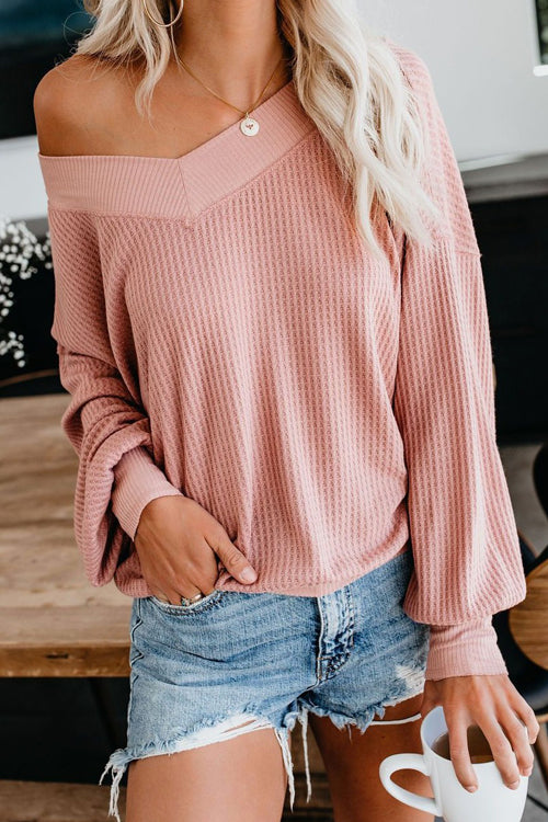 Basics Ellie V-neck Long Sleeve Casual Top - 3 Colors