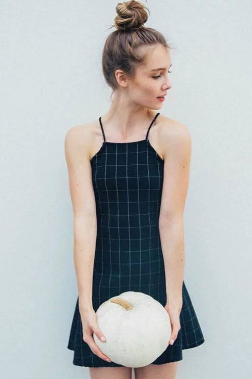 Halter Neck Tartan Mini Dress