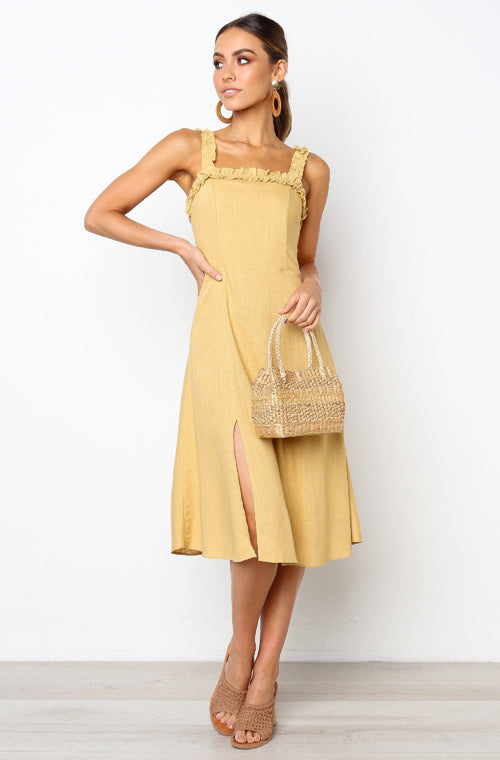 Golden Sunset Ruffle Spaghetti Midi Dress - 5 Colors