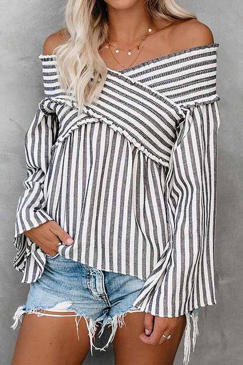 Fancy Me Striped Cross Shoulder Top