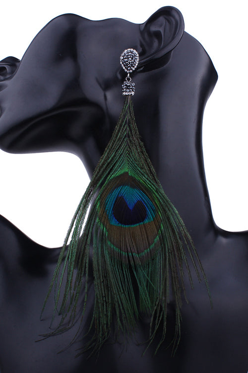 Peacock Feather Crystal Earring