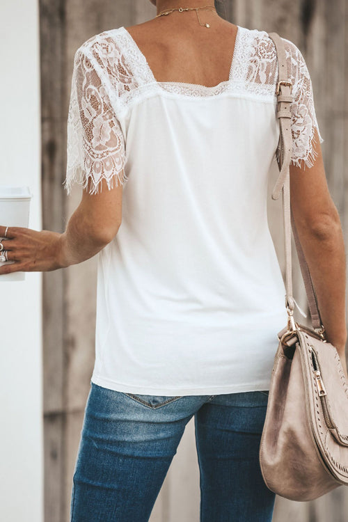 Imagine Me Without You Lace Shoulder Tee - 5 Colors