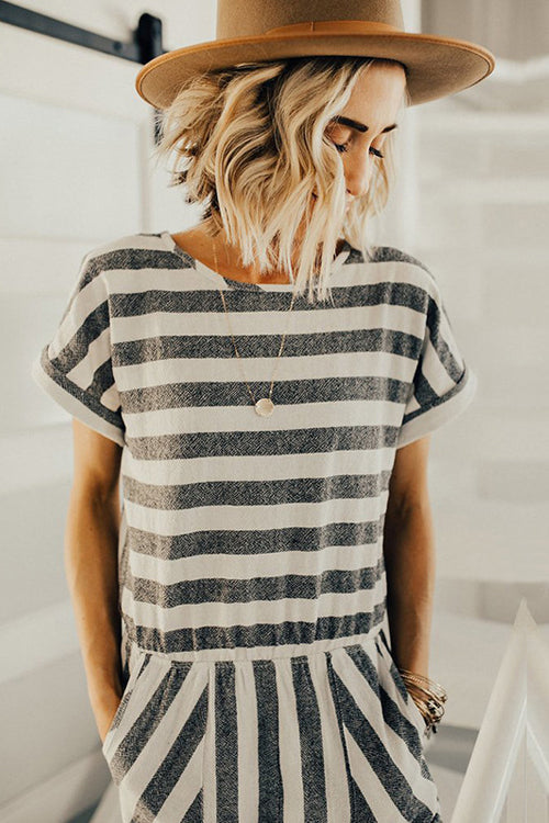 You Are My Sunshine White&Grey Stripe Jumpsuit