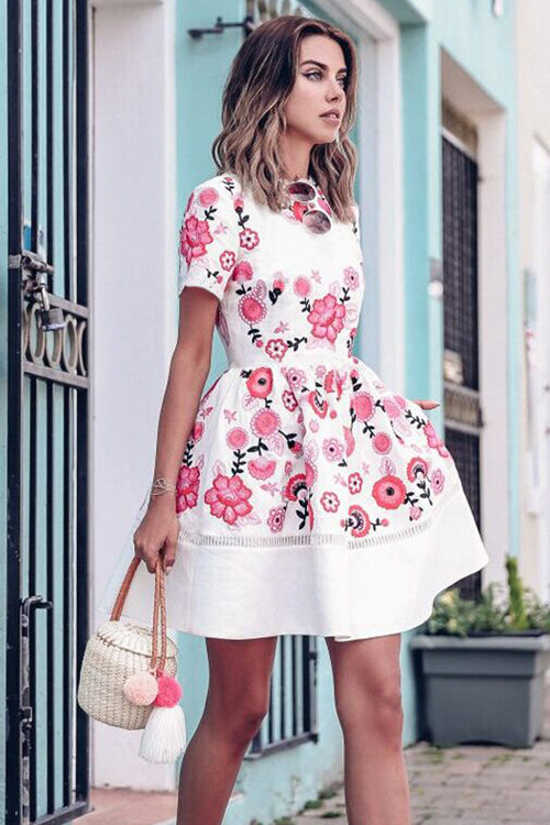 Flower Embroidered Fit&Flare Mini Dress