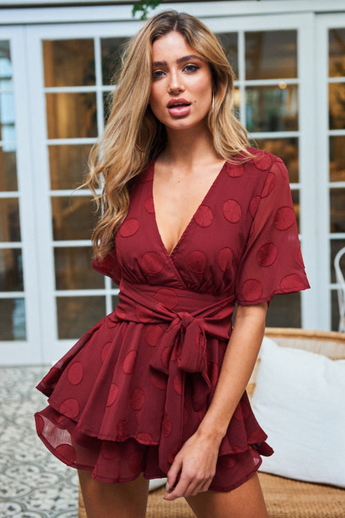 Red Dot Layered Tie-waist Romper