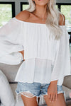 Love Lights White Off Shoulder Ruffled Top