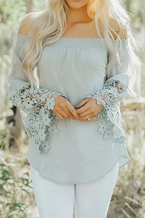 Where the Sun Shines Off Shoulder Lace Top - 3 Colors