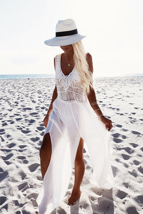 Tassel Chiffon Beach Maxi Dress