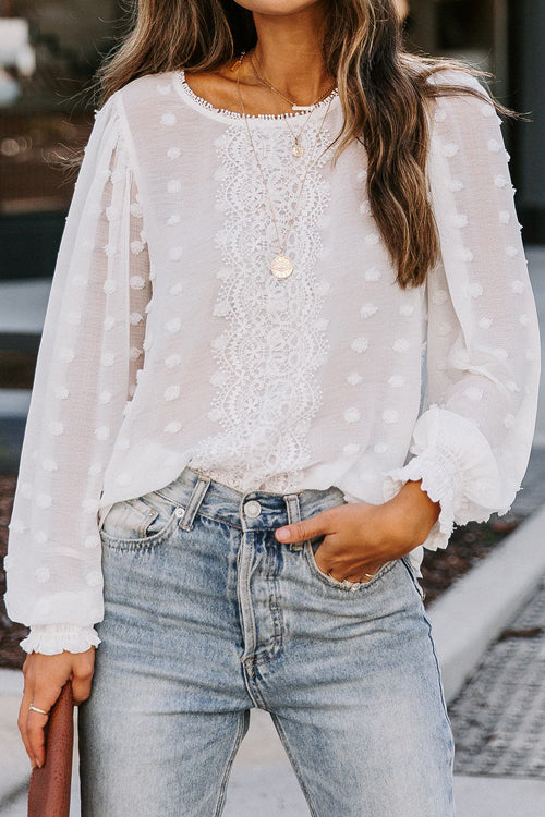 Easily Loved Polka Dot Lace Up Top - 2 Colors