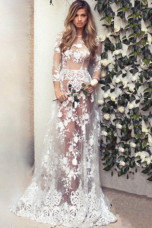 Lace See-through Maxi Dress