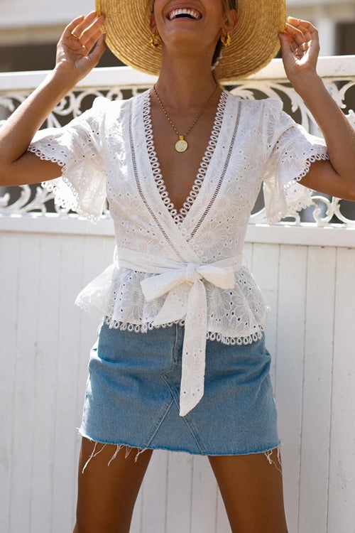 Follow The Sun Lace Embroidered Wrap Top