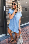 Forever and Always Denim Shirt Mini Dress