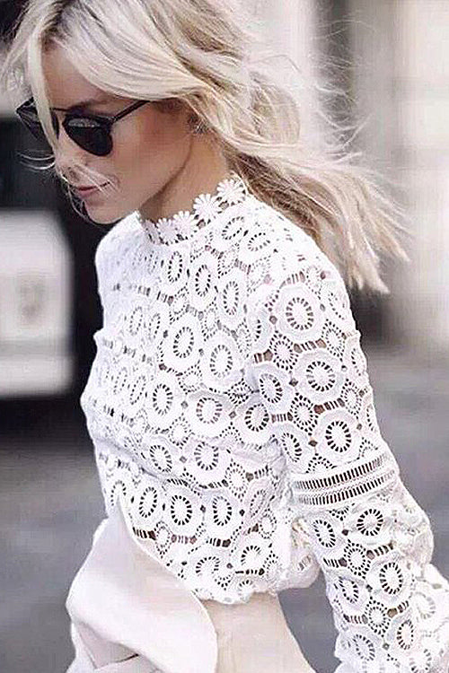 White Hollow-out Blouse
