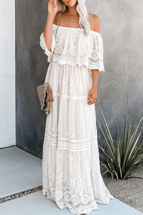 Always Be There Lace Off Shoulder Maxi Dress