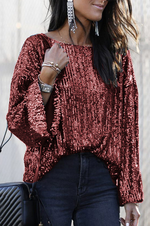 Full Speed Sequin Long Sleeve Top - 2 Colors