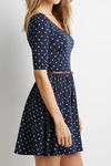 Navy Blue Dot Belt Dress