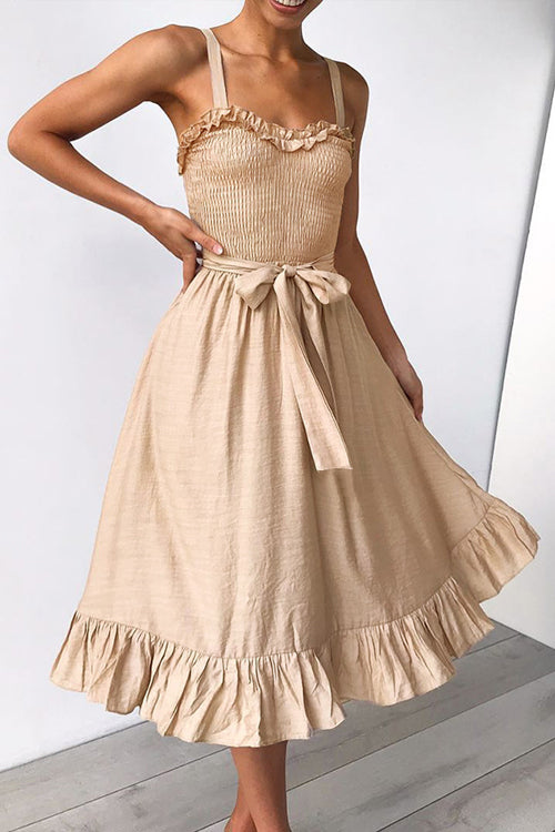 Gabriella Tie-waist Ruffled Midi Dress - 2 Colors