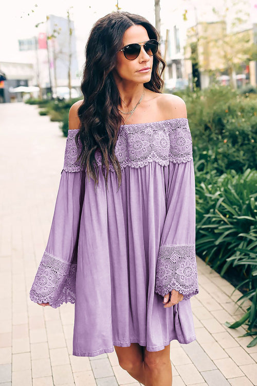 So Into You Lace Off Shoulder Mini Dress - 4 Colors
