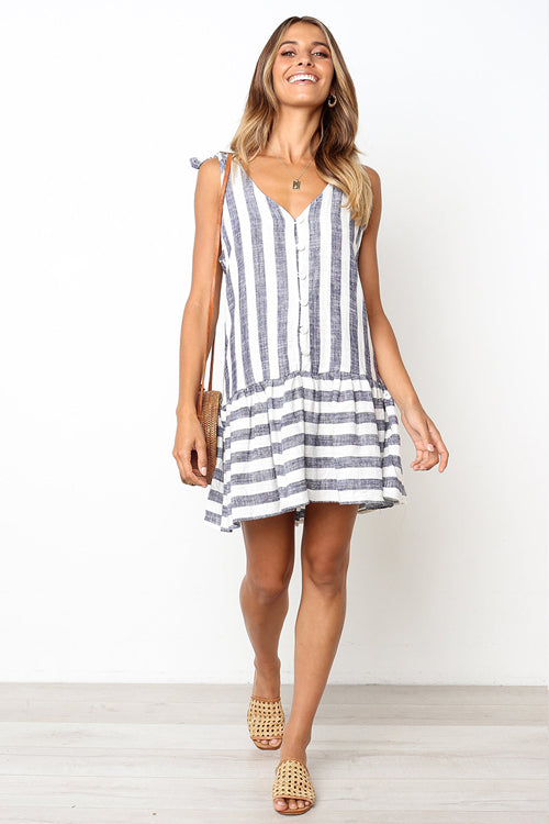 Heat Wave Stripe Bowknot A-Line Mini Dress - 4 Colors
