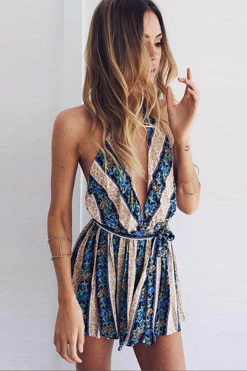 Tassel Open-back Stripe Romper