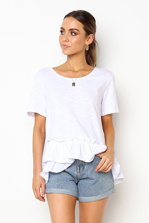 Nothing Better Ruffle Edge Short Sleeve Tee - 2 Colors