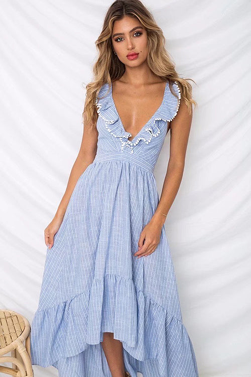 Sky Blue Stripe High&Low Dress