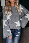 Comfy Cutie Rainbow Star Long Sleeve Sweater