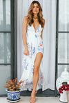 Jasmine Flower High-slit Maxi Dress
