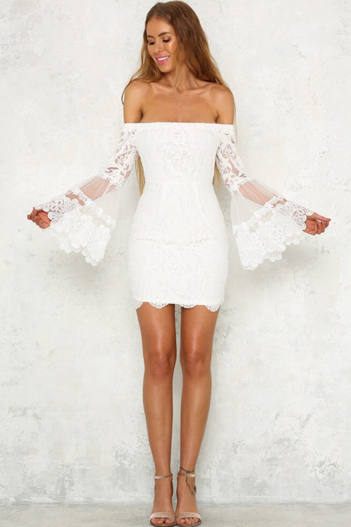 Lace Bishop Sleeve Warp Dress - 2 Colors