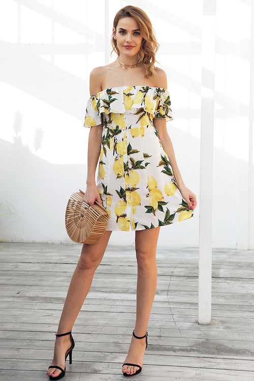 Lemon Button-Up Cute Mini Dress