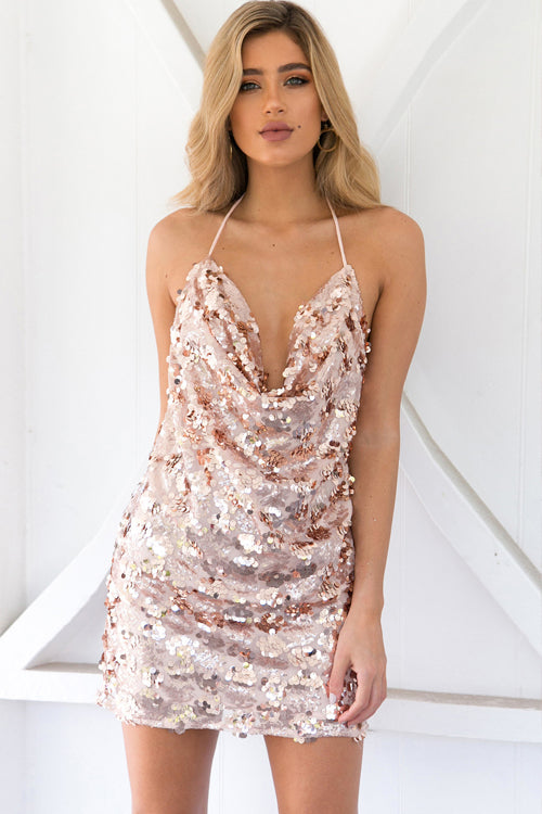 Pink Sequin Backless Party Dress