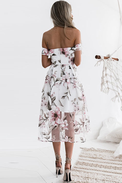 Tulle Floral Embridered Midi Dress - 2 Colors