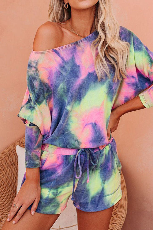 Color Your Life Long Sleeve Tie-Dye Pajamas Set