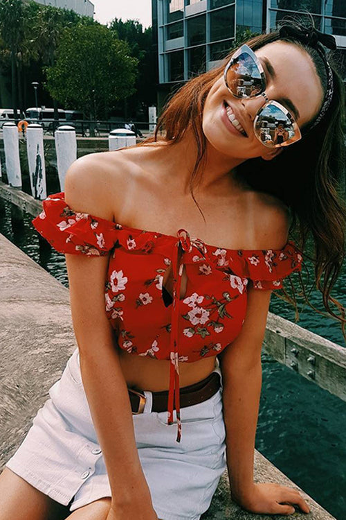 Red Floral Print Ruffle Blouse
