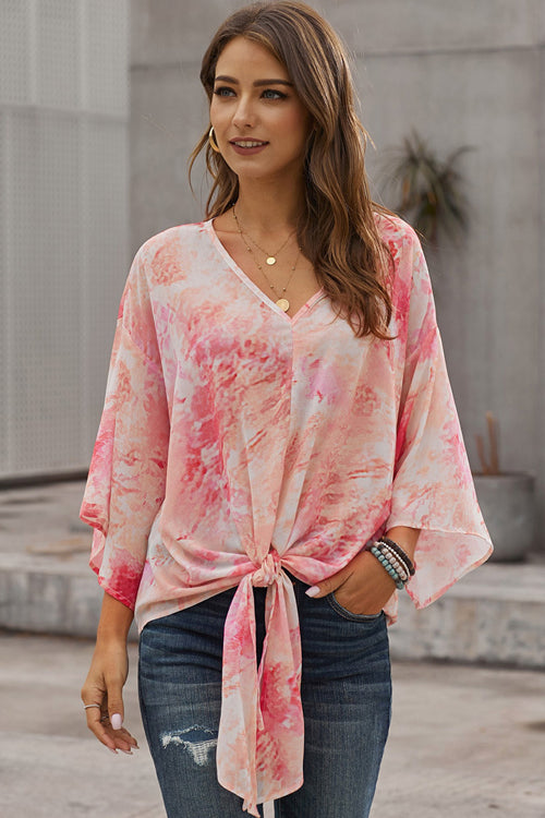 Flying High Tie-Dyed V-Neck Top - 2 Colors