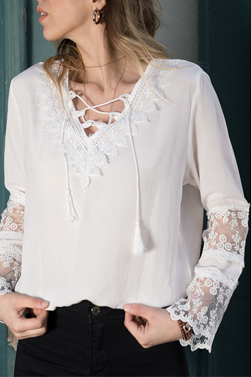 You Plus Me Lace Embroidery Shirt - 2 Colors